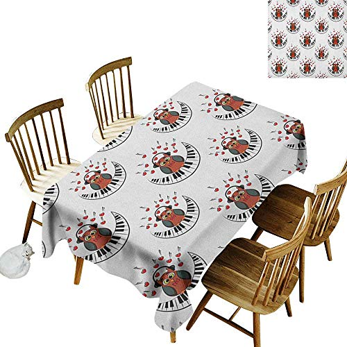 kangkaishi 3D Printed Long Tablecloth Desktop Protection pad Musician Pianist Owl with Headphones and Playing a Moon Shaped Piano Clipart Style W52 x L70 Inch Brown Grey Red -