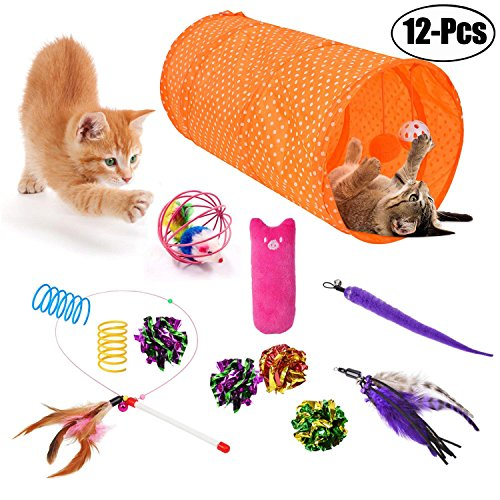 Legendog Cat Toys, 12Pcs Cat Kitten Interactive Feather Toy Teaser Wand with 2 Worm Refills Cat Tunnels Toys Crinkle Balls Set (4#)