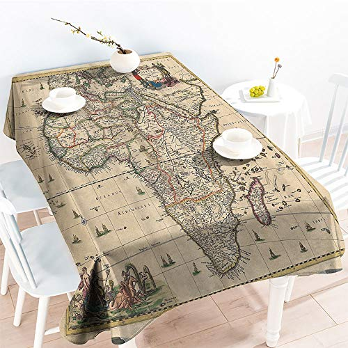 Jinguizi Spillproof Table Old Map of Africa Continent Ancient Historic Borders Rustic Manuscript Geography Imageindoor Outdoor TableclothIvory(70 by 120 Inch Oblong Rectangular) (Manuscript Border)