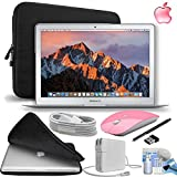 Apple MacBook Air 13.3″ 128GB SSD Notebook Laptop [Mid-2017 - Newest Version] Gift Bundle with Fitted Carrying Case, Pink Wireless Mouse,eDigitalUSA Stylus and more...