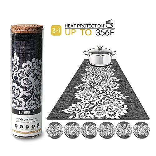 (Hotrun - 3 in 1 - Trivet and Decorative Table Runner With Coasters (6 pcs) Handles Heat Up to 356F, Anti Slip, Waterproof, and Convenient for Hot Dishes and Pots + Glass Vase (Canvas & lace))