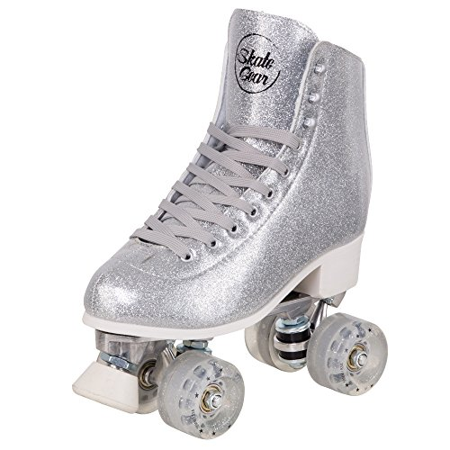 Cal 7 Sparkly Roller Skates for Indoor & Outdoor Skating, Faux Leather Quad Skate with Ankle Support & 83A PU Wheels for Kids & Adults (Silver, Men's 8/Women's 9)