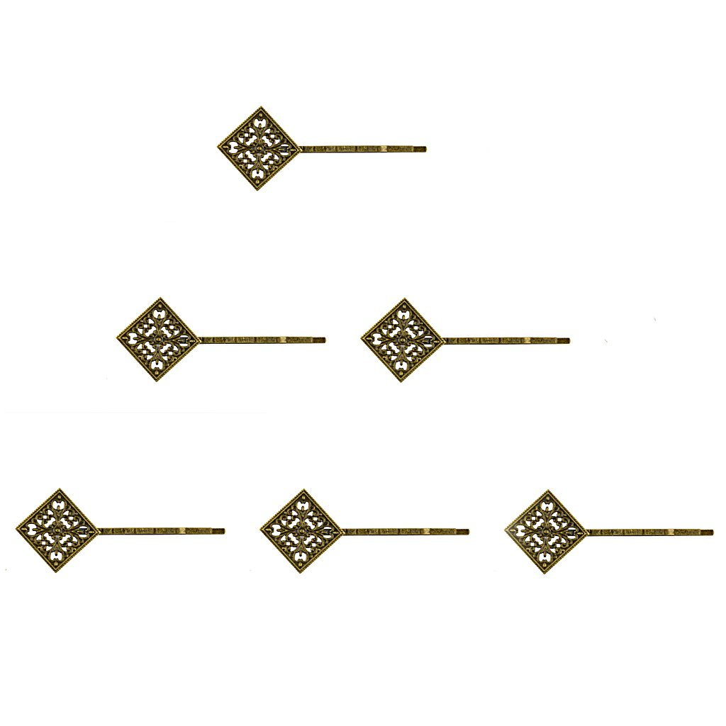 6pcs Vintage Bronze Filigree Hair Clip Bobby Pin Headwear Square Flower MagiDeal STK0156001060