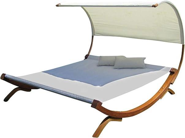 Amazon De Ass Doppelliege Sonnen Garten Liege Fur 2 Personen Saona Extrabreit Mit Dach Farbe Weiss