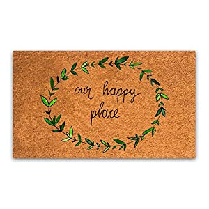 """Pure Coco Coir Doormat with Heavy-Duty PVC Backing - Our Happy Place - Perfect color/sizing for outdoor/indoor uses. Pile Height: 15mm - Size: 18""""-Inches x 30""""-Inches"""