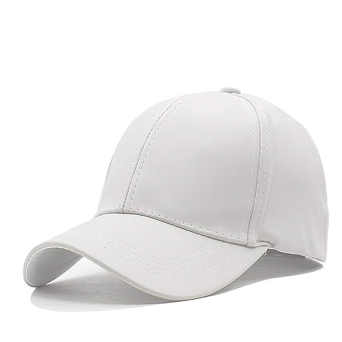 ee32ee5e Ron Kite Plain New Men Baseball Cap Women Leather Caps Casquette Adjustable Bone  PU Hats for