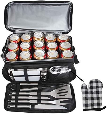 POLIGO 12PCS BBQ Grill Accessories Set with 15 Can Black Insulated Waterproof Cooler Bag – Camping Stainless Steel Grilling Tools Kit – Ideal Barbecue Utensils for Christmas Birthday Gifts Men Women