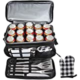 POLIGO 12PCS BBQ Grill Tools Set with 15 Can Black Insulated Waterproof Cooler Bag - Complete Outdoor Stainless Steel Grilling Accessories Utensils Kit - Prefect Birthday Gifts Set for Men Women