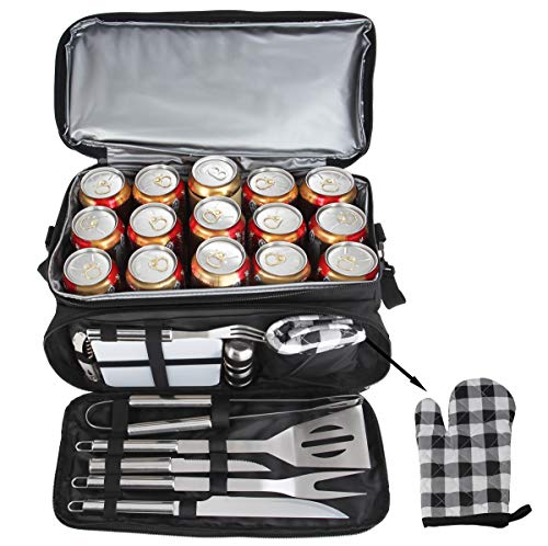 POLIGO 12PCS BBQ Grill Accessories Set with 15 Can Black Insulated Waterproof Cooler Bag - Camping Stainless Steel Grilling Tools Kit - Ideal Barbecue Utensils Kit for Father's Day Birthday Gifts