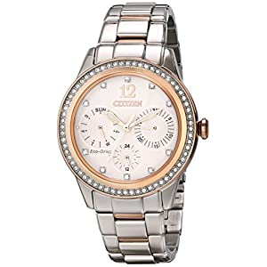 Citizen Eco-Drive Women's Two Tone Pink Goldtone Silhouette Crystal Watch
