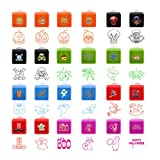 Assorted Stamps 24 Pack for Kids Self-Ink Stamps for Holiday Party Favors, 24 Different Designs, 6 Assorted Colors
