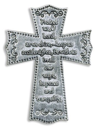 Religious Travelers Gift 2 1/4 Inch Silver Tone Cross with Motorists Prayer Auto Car Visor Clip ()