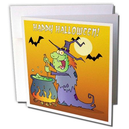 3dRose Dooni Designs Halloween Designs - Ugly Green Halloween Witch Preparing Potion In Cauldon Funny Silly Halloween Cartoon Design - 1 Greeting Card with envelope (gc_153719_5) ()