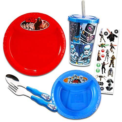Star Wars Toddler Dinnerware Set - Flatware, Plate, Bowl, Tumbler, Stickers (Star Wars Dining Set)