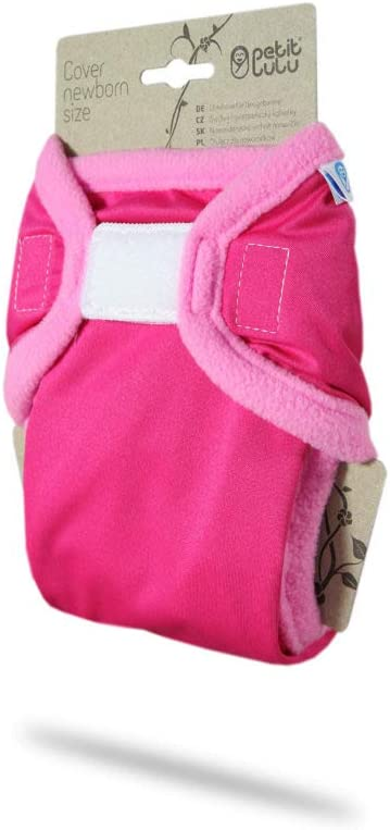 Made in Europe Rainbow Newborn 4.4-13.2 lbs | Hook /& Loop Washable Diaper Wrap Pink Petit Lulu Cloth Nappy Cover Grey Reusable Cloth Nappies
