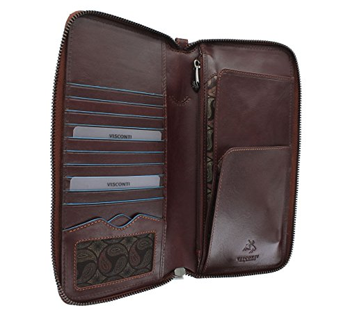 Visconti Brown ALFRED Wallet Alps Brown With Collection Leather Travel RFID Protection ALP89 7nar7qW