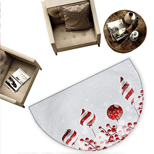 (Christmas Semicircle Doormat Traditional Design Icons Holly Berry Branches with Snow and Bokeh Effect Print Halfmoon doormats H 74.8