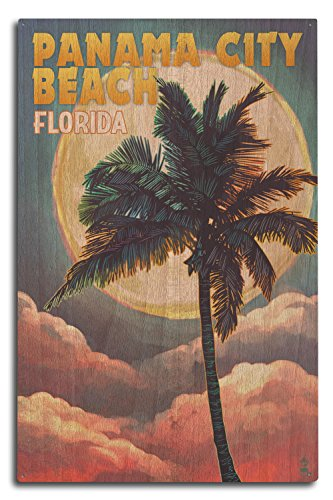 Lantern Press Panama City Beach, Florida - Palm and Moon (10x15 Wood Wall Sign, Wall Decor Ready to Hang)