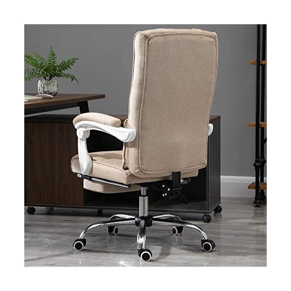 Fauteuil de bureau manager grand confort repose-pied tétière intégrés dossier inclinable lin beige