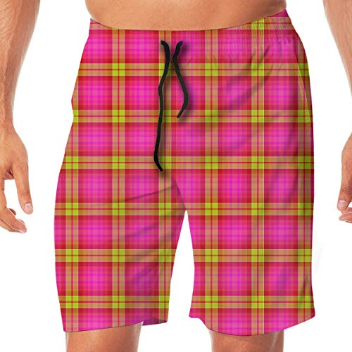 (Quick Dry Men's Beach Shorts Yellow Pink Plaid Print Swim Trunks Surf Board Pants Pockets XXL)