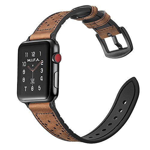 Mifa Hybrid Leather Sports band for Apple Watch vintage Bands Dark Brown Replacement straps Sweatproof classic dress iwatch series 1 2 3 nike space black grey 42mm brown men women HYBD (42mm - Brown) by MIFA