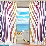 Vantaso Sheer Curtains 78 inch Long Zebra Skin With Rainbow Color for Kids Girls Bedroom Living Room Window Decorative 2 Panels