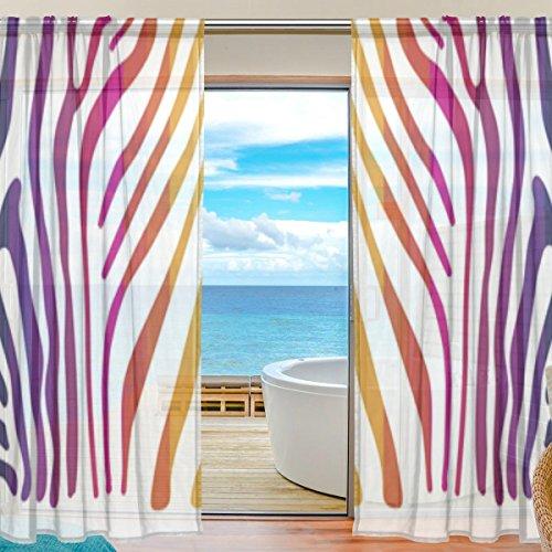 Vantaso Sheer Curtains 78 inch Long Zebra Skin With Rainbow Color for Kids Girls Bedroom Living Room Window Decorative 2 Panels by Vantaso
