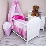 Amilian 5-Piece Baby Bed Linen Set with Cot Bumper, Bed Sheet Pillowcase and Chiffon Canopy, Plus Bow Love Heart Print Pink