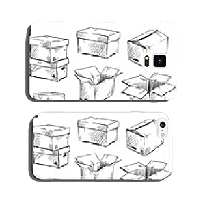 set of doodle cardboard boxes. Vector illustration. cell phone cover case Samsung S6