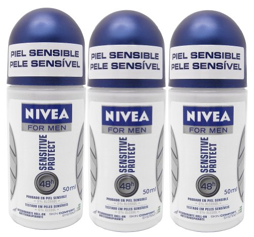 Nivea for Men Sensitive Protect 48 Hr. Anti-perspirant Roll-on Deodorant. 50 Ml. (Pack of 3)