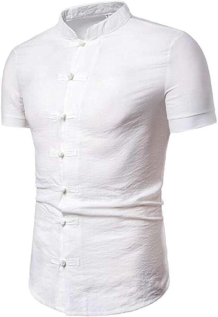Bravepe - Camisa de Manga Corta para Hombre con Cuello de Mandarina Estilo Chino y Botones - Blanco - X-Small: Amazon.es: Ropa y accesorios