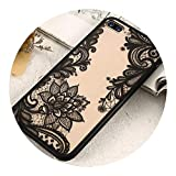 Pursuit-of-self iPhone 6S 6 7 8 Plus XS Max Cover 3D Lace Flower Phone Shell,Black, iPhone 8
