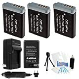 UltraPro 3-Pack NB-13L High-Capacity Replacement Batteries with Rapid Travel Charger for Select Canon Digital Cameras - UltraPro Bundle Includes Camera Cleaning Kit, Camera Screen Protector, Mini Travel Tripod