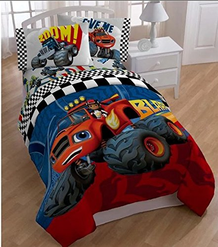 5 Piece Kids Monster Truck Comforter Twin Set, Large Monster Trucks Themed Bedding for Boys, Blaze and the Monster Machines Pattern, Racing Track Lines, Red Blue White Yellow Orange