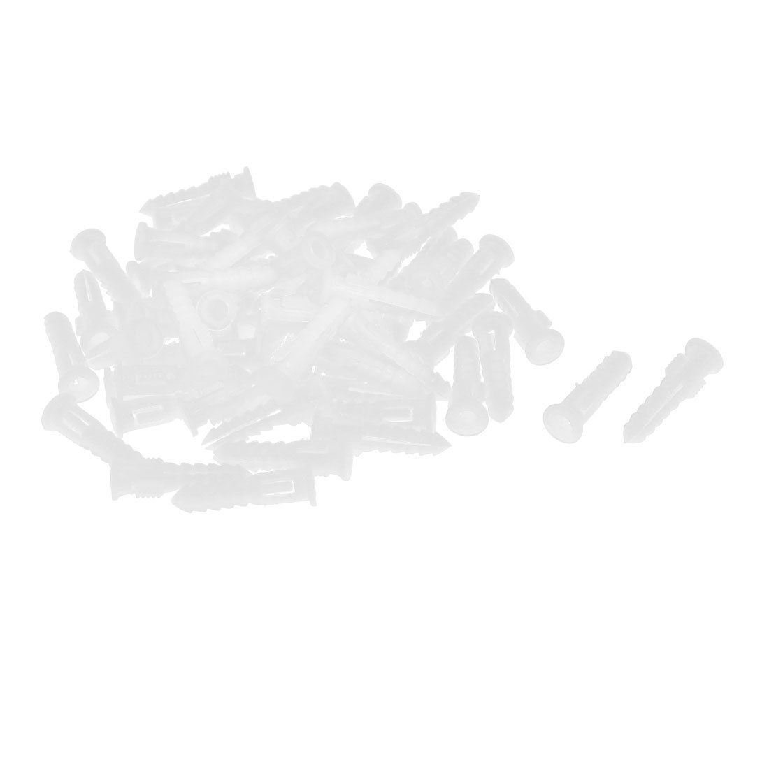 uxcell 30mm Length Plastic Expansion Bolt Wall Drywall Anchor White 60pcs