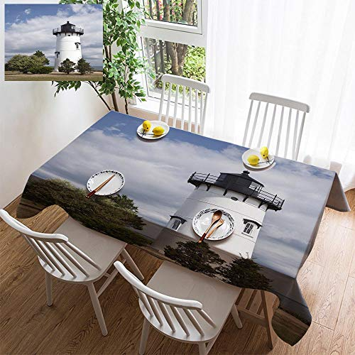 HOOMORE Simple Color Cotton Linen Tablecloth,Washable, East Chop Lighthouse Decorating Restaurant - Kitchen School Coffee Shop Rectangular 120×60in ()