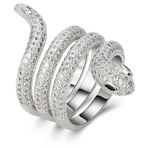 Kemstone Original Silver Plated Snake Ring Jewelry for Women Lady, Size8