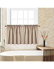 CAROMIO Cafe Curtains Bathroom Window Curtains Kitchen Curtains Waffle Woven Textured Short Tier Curtains