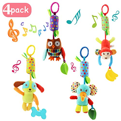 4 PCS Baby Soft Hanging Rattle Crinkle Squeaky Toy - Animal Ring Plush Stroller Accessories Infant Car Bed Crib Travel Activity Hanging Wind Chime with Teether for Boys Girls