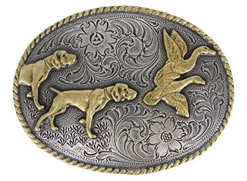 Outdoorsman Hunting Dogs & Birds Brass and Silver Western Belt Buckle