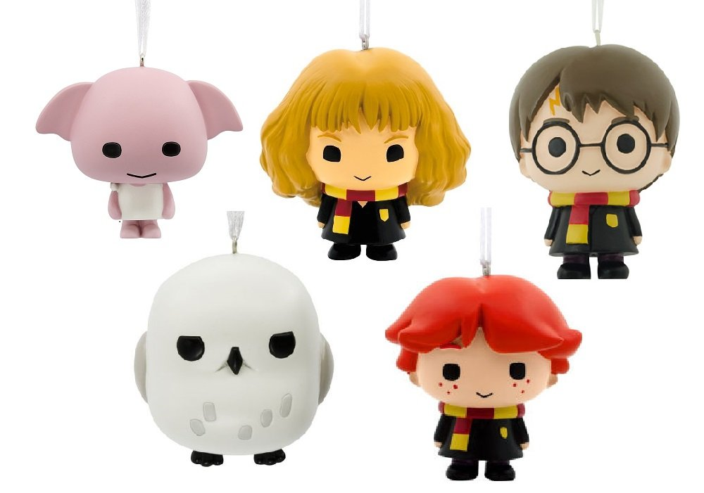 Set of 5 Hallmark Harry Potter Ornaments Including Harry, Ron, Hermione, Hedwig and Doby by Ornament