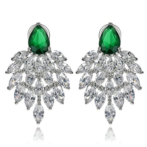 Adisaer Crystal Earring Dangle for Women Cluster Marquise Cut CZ Teardrop Green Wedding Jewelry for Bride ()