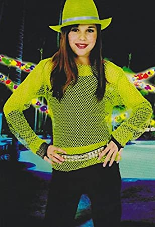 Damen Kinder Netzshirt Neon Grun Gr 32 34 36 38 Kostum Fasching