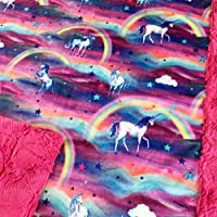 "Baby Girl Rainbow Unicorn Minky Blanket Infant Toddler 28""x40"""
