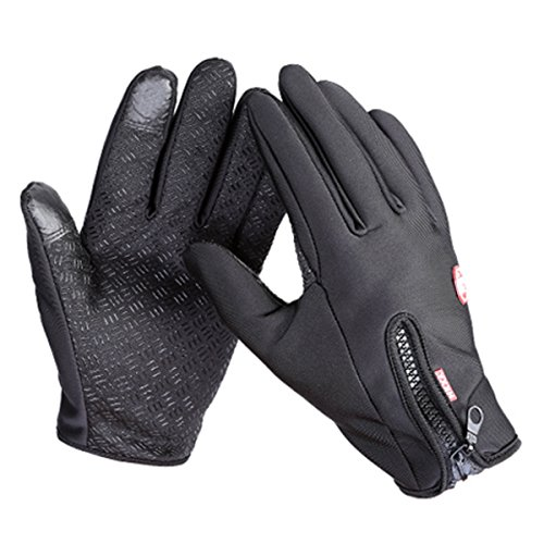 Men Winter Touch Screen Windproof Warm Gloves Women Waterresistant Coldproof Camping Thermal Fleece Riding Glove (Black, XL)