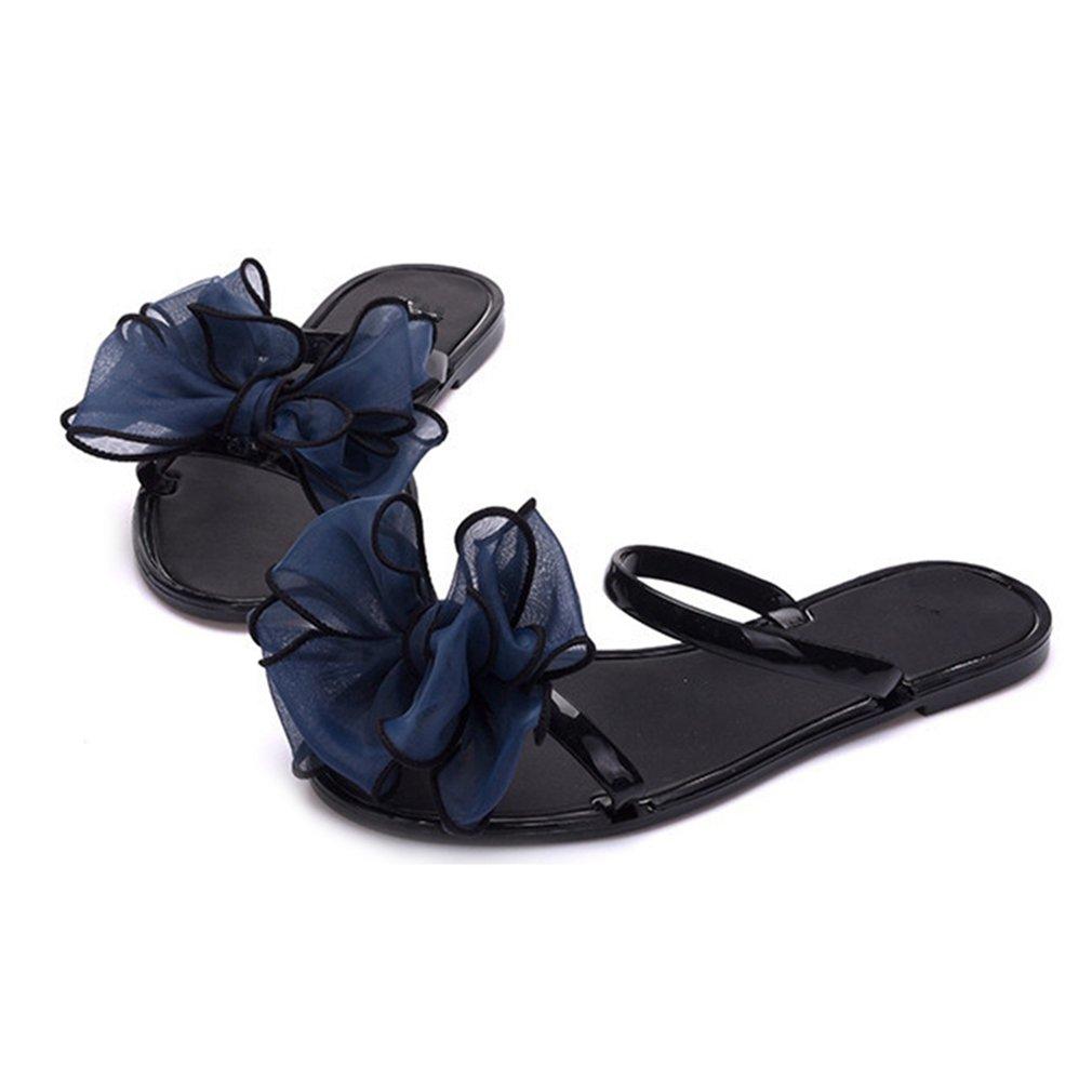 PVC Soft Women Flowers Slipper Summer Beach Flip Flop Bohemia Bow Flat Synthetic