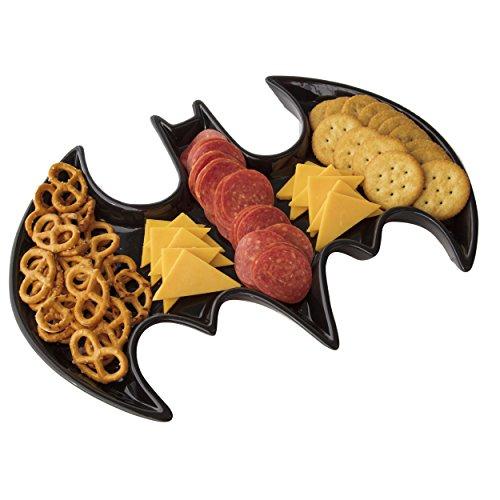 Batman Ceramic Serving Platter - DC Comics Bat Symbol Design Tray - Dishwasher and Microwave Safe - Black - 14