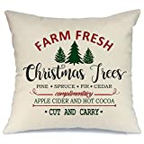 AENEY Christmas Pillow Cover 18x18 for Couch Farm Fresh and Christmas Tree Throw Pillow Farmhouse Decorations Home Decor Xmas Decorative Pillowcase Faux Linen Cushion Case Sofa Red