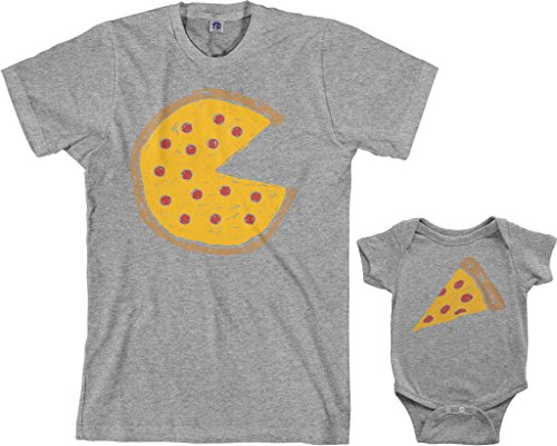 Threadrock Pizza Pie & Slice Infant Bodysuit & Men's T-Shirt Matching Set (Baby: 6M, Sport Gray|Men's: XL, Sport Gray)