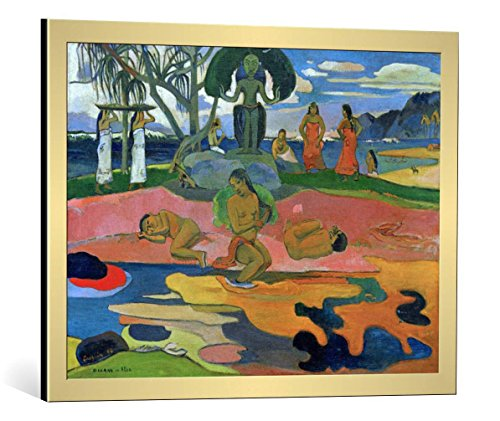 kunst für alle Framed Art Print: Paul Gauguin Mahana no atua - Decorative Fine Art Poster, Picture with Frame, 30x22 inch, Gold Brushed